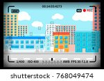 modern city view with reflex... | Shutterstock . vector #768049474