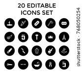 steel icons. set of 20 editable ... | Shutterstock .eps vector #768050254