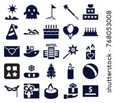 set of 25 holiday filled icons... | Shutterstock .eps vector #768053008
