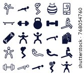 set of 25 fit filled and... | Shutterstock .eps vector #768054760