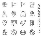 thin line icon set   globe ... | Shutterstock .eps vector #768055663