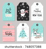 Stock vector set of christmas tags with cute animals and hand drawn decoration elements vector illustration 768057388