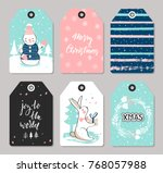 set of christmas tags with cute ... | Shutterstock .eps vector #768057988