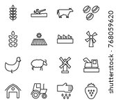 thin line icon set   spikelets  ...   Shutterstock .eps vector #768059620