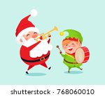 santa playing on trumpet  green ... | Shutterstock .eps vector #768060010