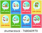 merry christmas and happy new... | Shutterstock .eps vector #768060970
