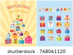 merry christmas happy new year... | Shutterstock .eps vector #768061120