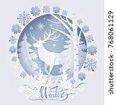 winter deer in forest  poster... | Shutterstock .eps vector #768061129