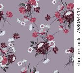 seamless floral background with ... | Shutterstock .eps vector #768064414