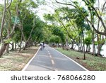 wide bike and waking lane with  ... | Shutterstock . vector #768066280