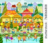 colorful christmas market in a...   Shutterstock . vector #768066808
