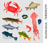 stickers seafood set with crab  ... | Shutterstock .eps vector #768068194