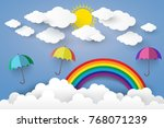 full color umbrella with cloud... | Shutterstock .eps vector #768071239