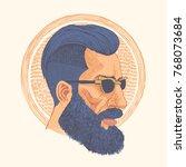 hipster. hand drawn portrait of ... | Shutterstock .eps vector #768073684