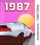 1987 white sports car and a... | Shutterstock . vector #768073846