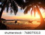 sunset over the tropical beach... | Shutterstock . vector #768075313