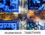 aerial drone view on city... | Shutterstock . vector #768075490