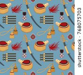 seamless pattern with sabers ...   Shutterstock .eps vector #768075703