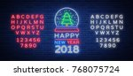 happy new year 2018 is a neon... | Shutterstock .eps vector #768075724