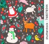 vector christmas seamless... | Shutterstock .eps vector #768078544