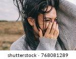 closeup cropped portrait of... | Shutterstock . vector #768081289