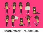 set of female character in...   Shutterstock .eps vector #768081886