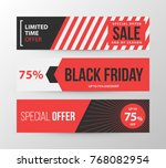 three horizontal black friday... | Shutterstock .eps vector #768082954