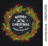 decorative christmas wreath... | Shutterstock . vector #768091000