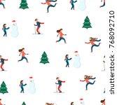 winter sport scene. happy... | Shutterstock .eps vector #768092710