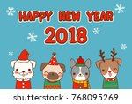 happy new year 2018 greeting... | Shutterstock .eps vector #768095269