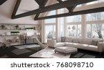 living room of luxury eco house ... | Shutterstock . vector #768098710