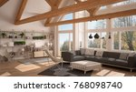 living room of luxury eco house ... | Shutterstock . vector #768098740