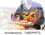 double exposure of man or male... | Shutterstock . vector #768099073