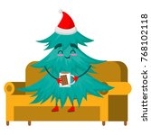 christmas tree character on the ... | Shutterstock .eps vector #768102118