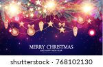 merry christmas shining... | Shutterstock .eps vector #768102130