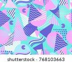 memphis seamless pattern.... | Shutterstock .eps vector #768103663