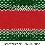 winter christmas x mas knitted... | Shutterstock .eps vector #768107866