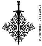 antique sword among rose flower ... | Shutterstock .eps vector #768110626