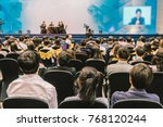 speakers on the stage with rear ... | Shutterstock . vector #768120244