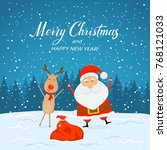 happy santa claus with bag of...   Shutterstock .eps vector #768121033