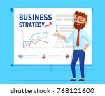 businessman shows business plan ... | Shutterstock .eps vector #768121600