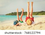 father and son having fun on... | Shutterstock . vector #768122794
