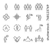 people icons line work group... | Shutterstock .eps vector #768123769