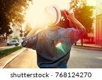colorful summer evening... | Shutterstock . vector #768124270