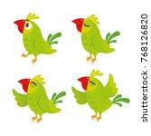 vector set of cute green parrot.... | Shutterstock .eps vector #768126820