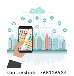 smartphone with navigation in... | Shutterstock .eps vector #768126934