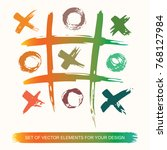 tic tac toe. painted grunge ink ... | Shutterstock .eps vector #768127984