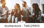 young group of happy friends... | Shutterstock . vector #768129853