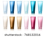 realistic tube. set of cosmetic ...   Shutterstock .eps vector #768132016