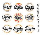set of pizza  pasta  pizzeria... | Shutterstock .eps vector #768132100